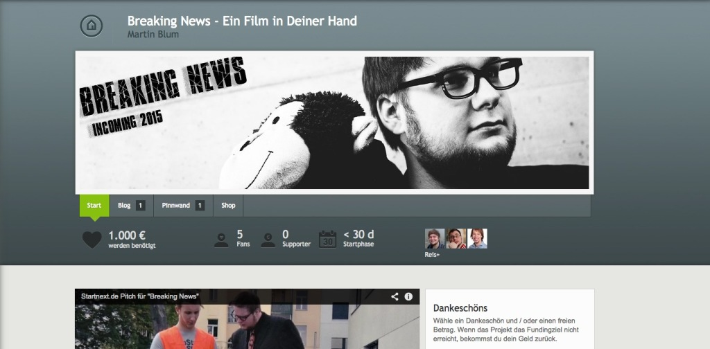 Breaking News bei Startnext, Screenshot Projektseite